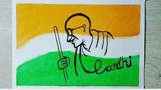 MAHATMA GANDHI JAYANTI with Oil Pastel Scenery For Beginners || Easy GANDHIJI Drawing very easy