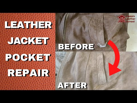 How to fix ripped pocket  in leather jacket.