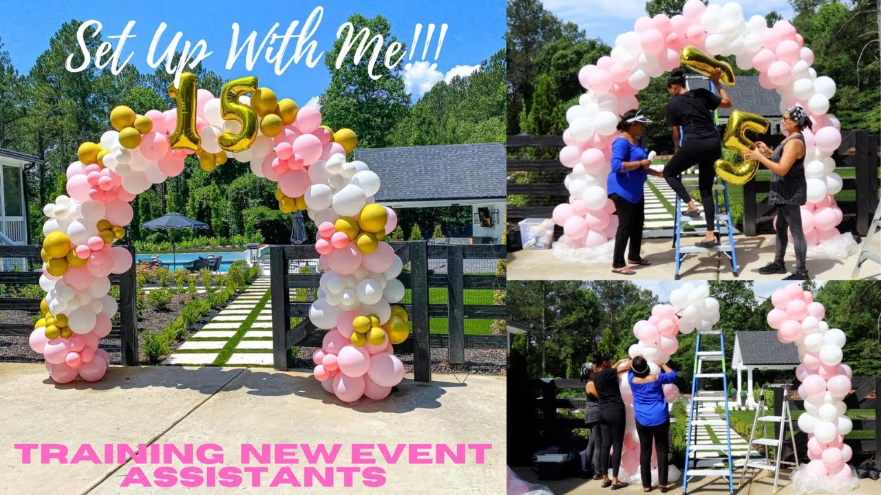Setup With Me! Organic Balloon Arch   Training New Event Assistants