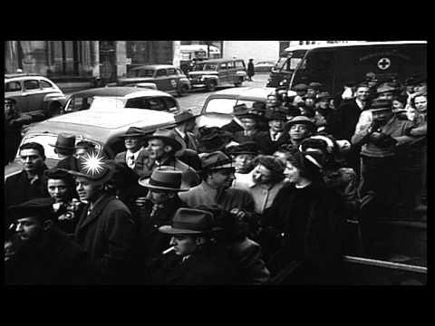 Reception center in New York City, where British war brides and their children ar...HD Stock Footage