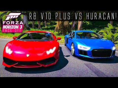 AUDI R8 V10 PLUS VS LAMBORGHINI HURACAN!!   Forza Horizon 3 Face Off Ep.1