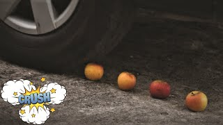 EXPERIMENT with CAR VS Crunchy soft things LEMON, ORANGE, APPLE, WATERMELON, PINEAPPLE *EXPERIMENT*