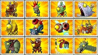 Every Zombot Fight! Plants vs Zombies 2 Max Level Plants  Power Up vs All Zomboss