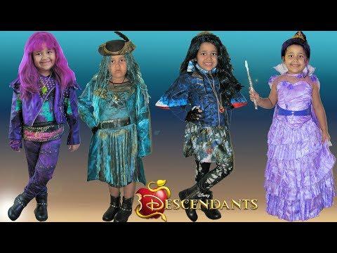 Descendants 2 Halloween Costumes Dress Up Mal Evie Uma - YouTube