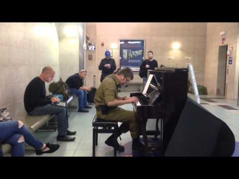 Idf soldier plays classical music at the Tel Aviv University train station