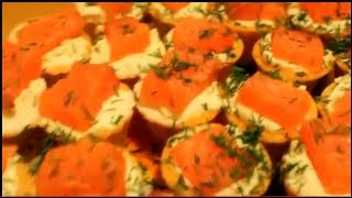 Рецепт. Тарталетки с рыбой и сыром. Видеорецепт.