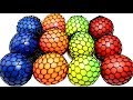 Learn Colors with Squishy Balls Fun for Kids Mesh Slime Stress Ball Cutting Open Fun Learning Video