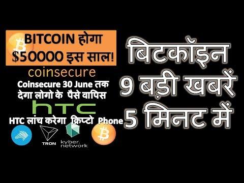 9 बड़ी खबरें 5 मिनट में l Bitcoin होगा $50000 l Coinsecure देगा पैसे वापिस l HTC  क्रिप्टो Phone
