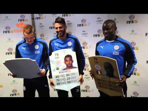 Jamie Vardy headbutts his old FIFA16 rating card!