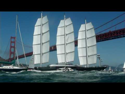 Maltese Falcon sails under San Francisco Golden Gate Bridge