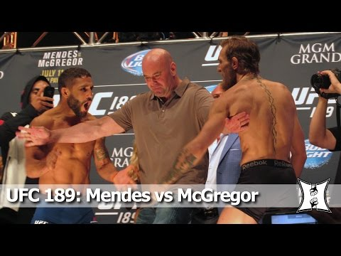 UFC 189: Chad Mendes vs Conor McGregor Weigh-in and Staredown (HD / Unedited)
