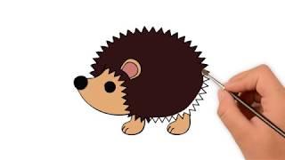 How to draw hedgehog  - How to draw funny cartoons