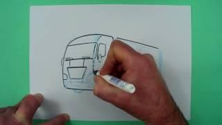 Wie zeichnet man einen einfachen Truck perspektivisch ? Zeichnen für Kinder