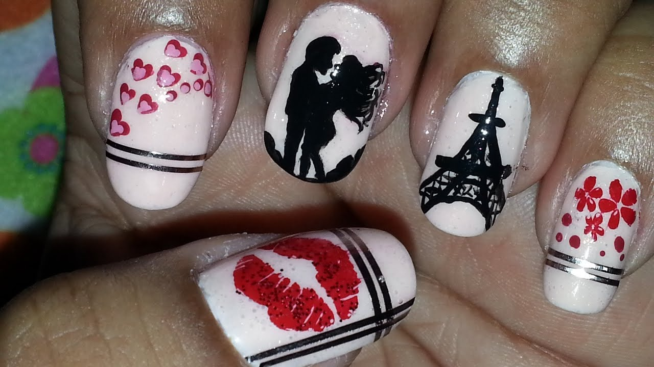 Sealed With A Kiss : Romantic Paris Themed Nail Art - YouTube