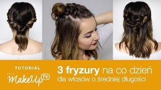 3 szybkie fryzury na co dzień do średnich włosów - Milena