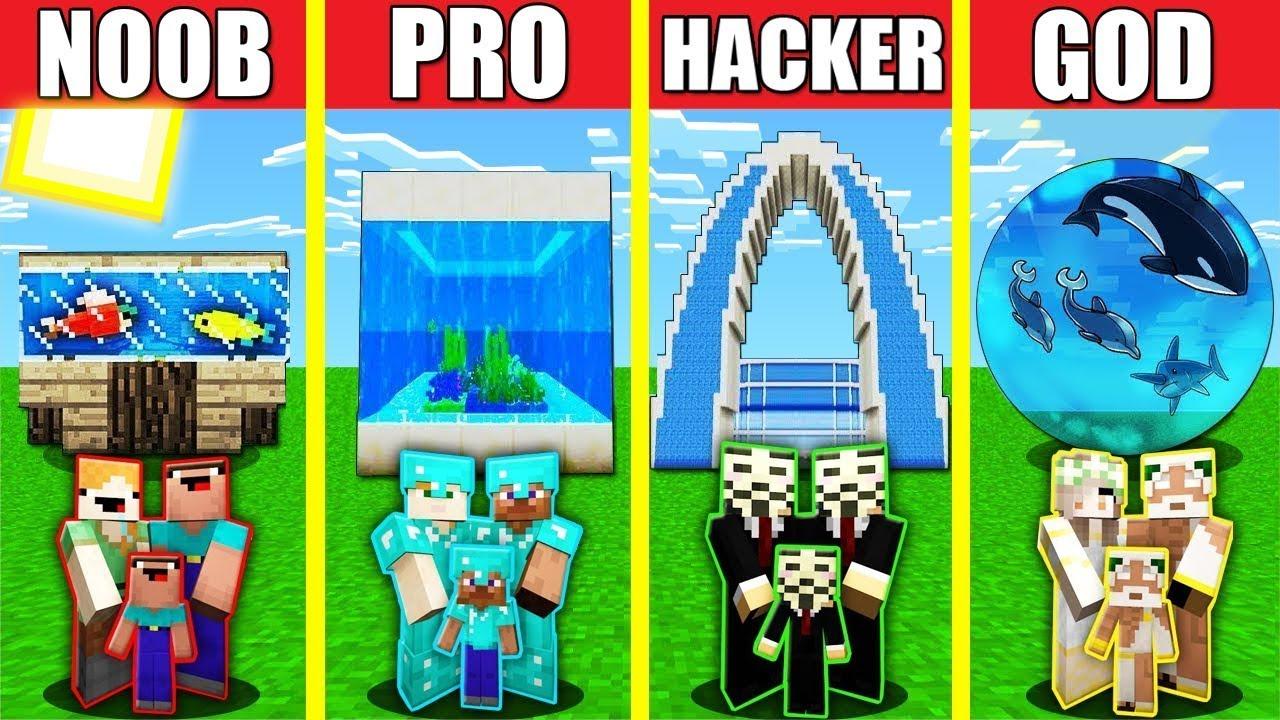 Minecraft Battle: AQUARIUM OCEANARIUM HOUSE BUILD CHALLENGE - NOOB vs PRO vs HACKER vs GOD Animation