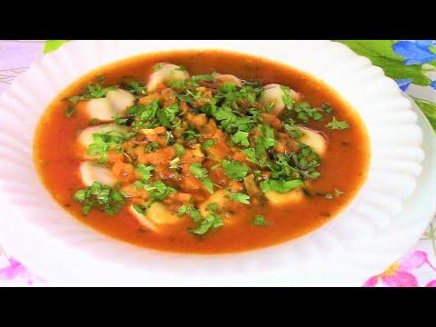 Ароматный и очень вкусный суп с покупными пельменями. Чучвара.