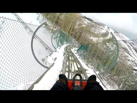 Park City Alpine Coaster POV Roller Coaster in the SNOW Utah Ski Resort 60fps