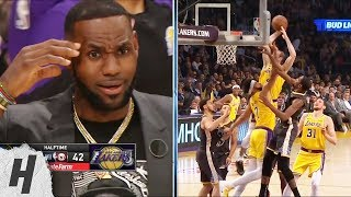 LeBron James in Shock After Alex Caruso's SICK Dunk - Warriors vs Lakers | April 4, 2019