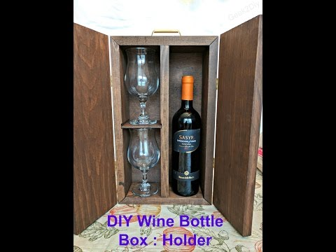 DIY Wine Bottle Box : Holder | Wine and Glass Carrier | Rustic Wine Carrier