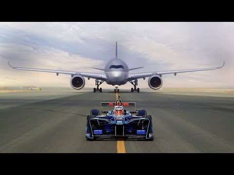 ABB FIA Formula E race car vs Qatar Airways' Airbus A350 and Boeing 787 Dreamliner. Who will win?
