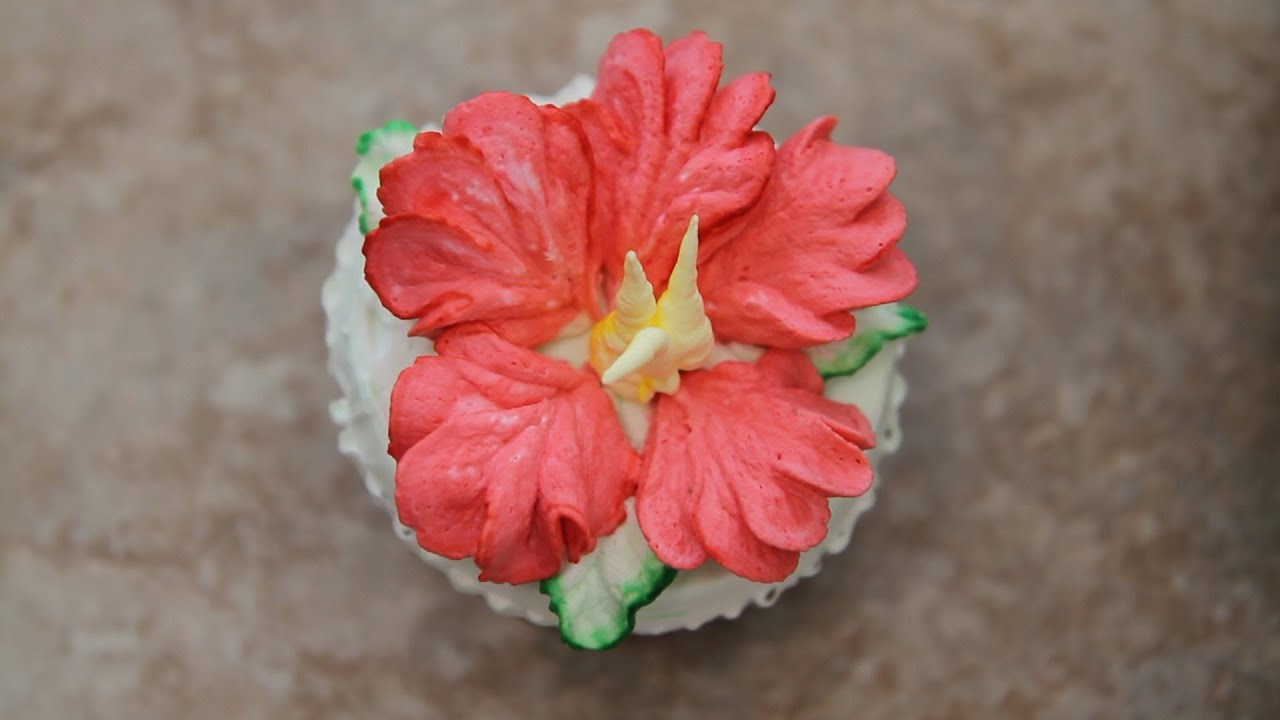 Cake Decorating Cream Flowers : How to Decorate Cupcakes Hibiscus Flower - YouTube