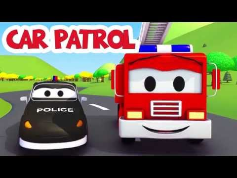 The Car Patrol Compilation: the Police Car and the Fire Truck Rescue Car City | Trucks cartoon