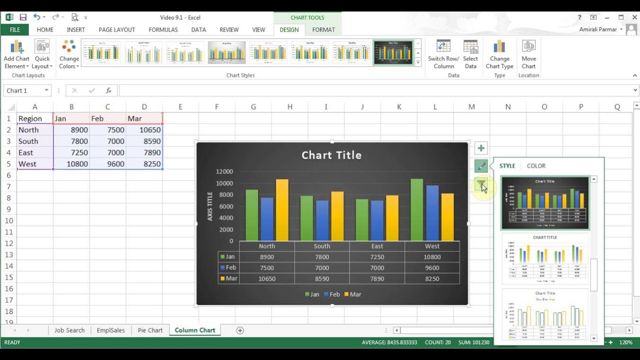 How To Create Pivot Table In Excel >> Microsoft Excel 2013/2016 pt 9 (Pie/Column Chart, Pivot Table) - YouTube