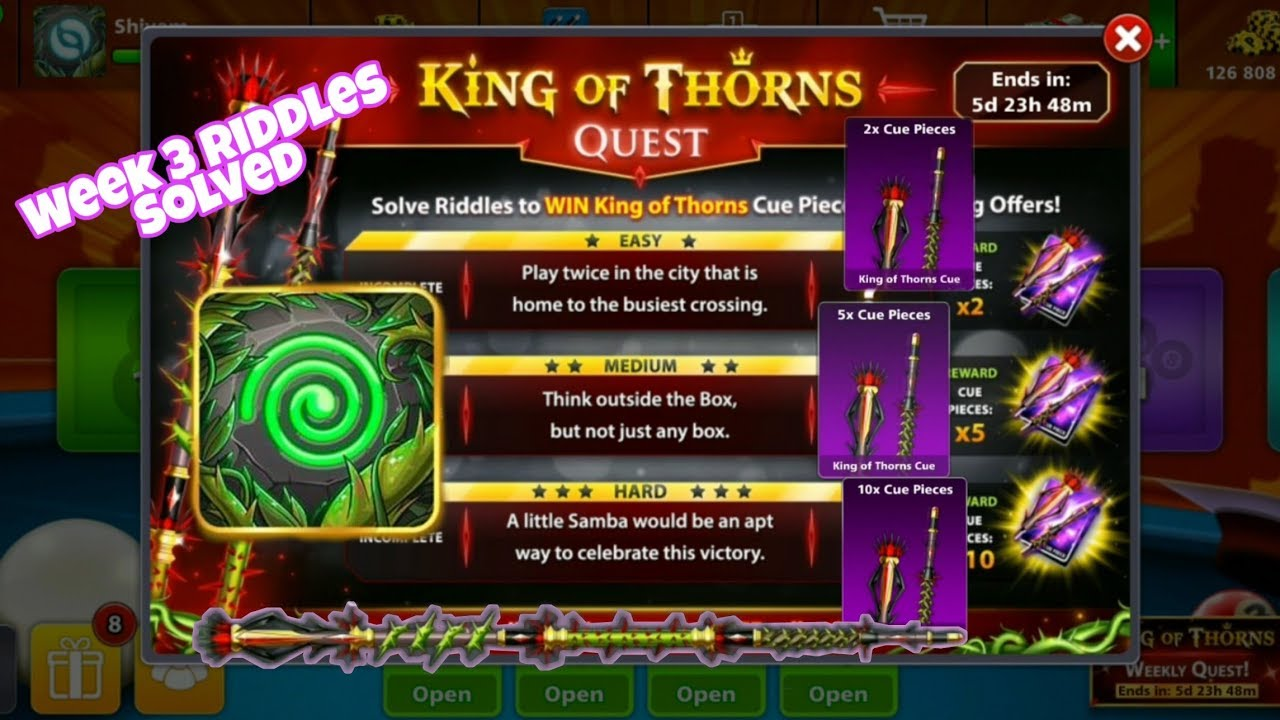 8 ball pool king of thorns riddles answers week 3