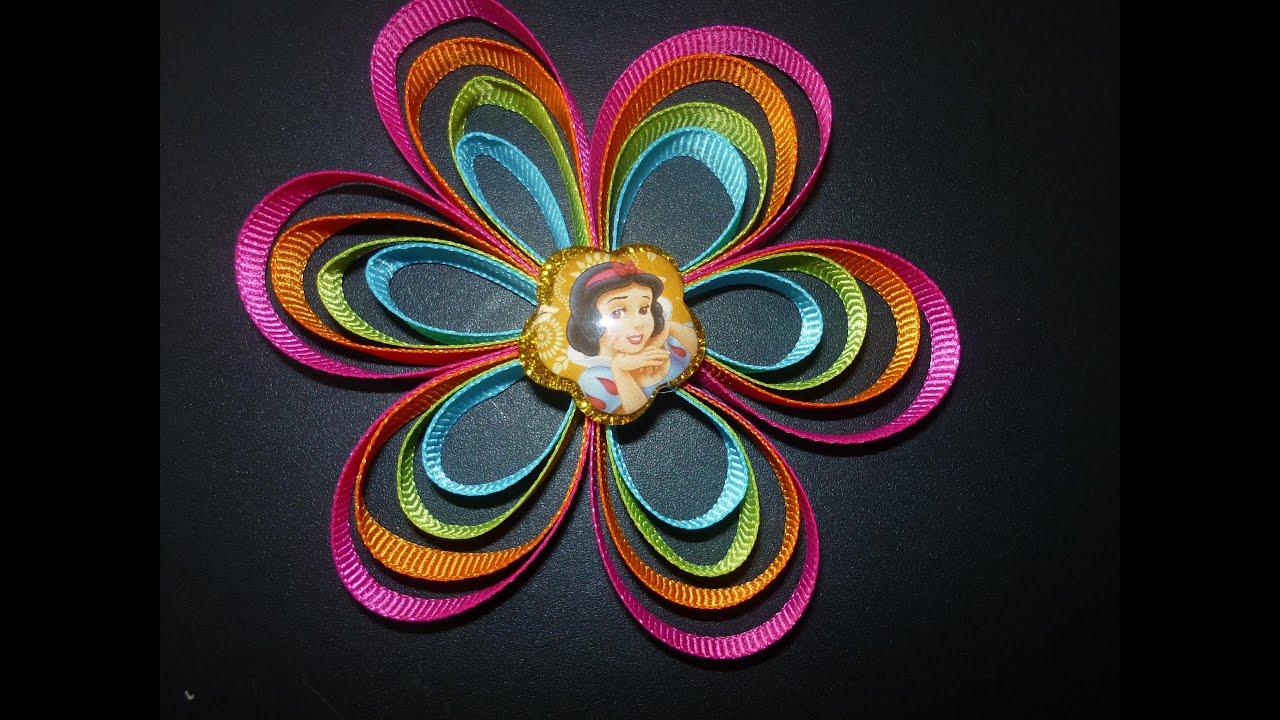 Como hacer flores bies how to make hair bows manualidades - Como hacer flores ...