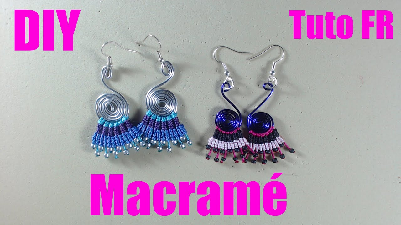 diy tuto fr facile paire de boucles d 39 oreilles en macram youtube. Black Bedroom Furniture Sets. Home Design Ideas