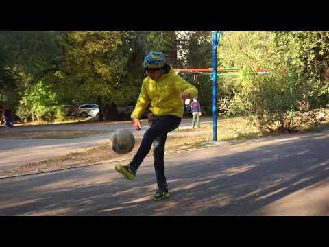 Kazakhstan / Skillful Almaty girl juggling a soccer ball