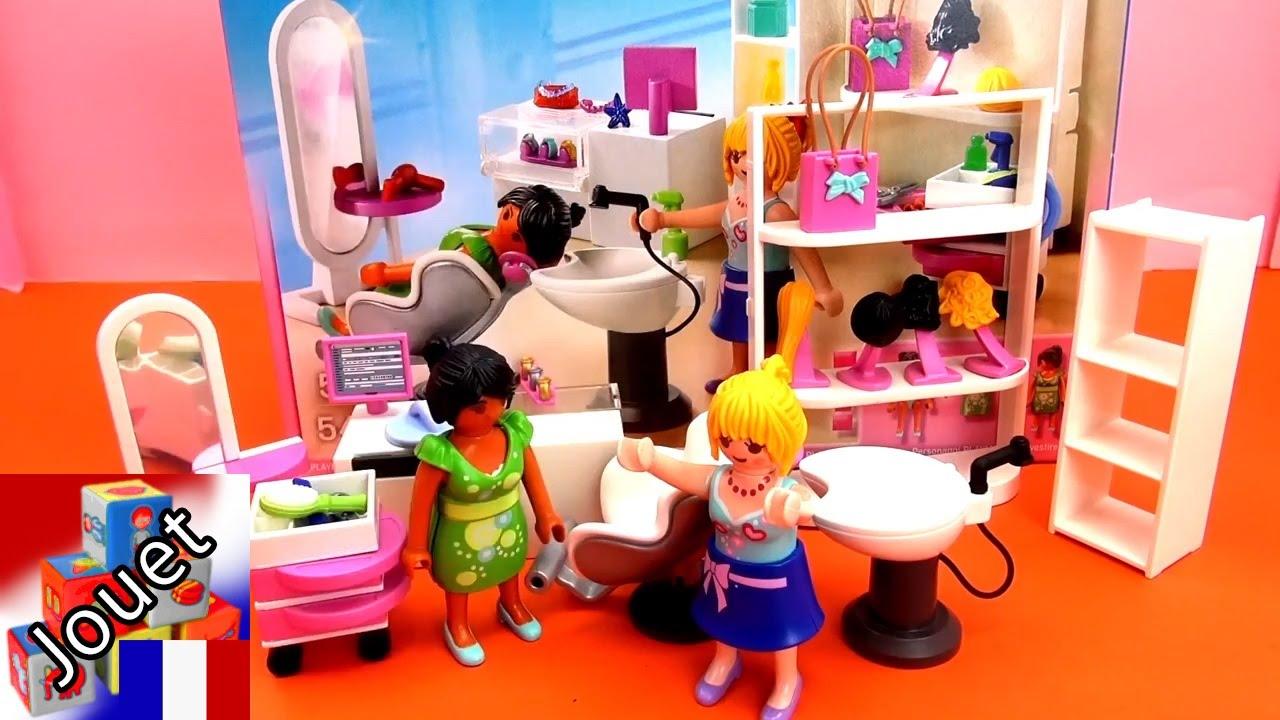 Playmobil salon de coiffure maman va chez le coiffeur for Playmobil salon de coiffure