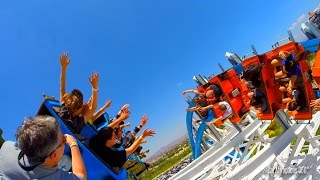 NEW! Twisted Colossus Full Ride - through (HD POV) - High Five - RACING another Train