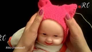 Baby Cat Cap / Hat / Topi ( बिल्ली वाली टोपी, बच्चो के लिए ) | Knitting Hindi |