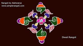 Diwali Sangu Kolam | 11X1 Dots சங்கு கோலம் | அழகிய வெள்ளிக்கிழமை சங்கு மலர் கோலம்