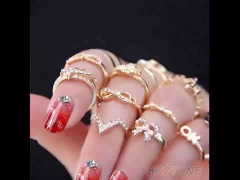 Finger Tip Stacking Rings for Women 1 set 7 pcs