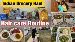 INDIAN GROCERY HAUL 2020 || My HAIR CARE ROUTINE 2020 || Indian mom busy MORNING ROUTINE 2020 ||