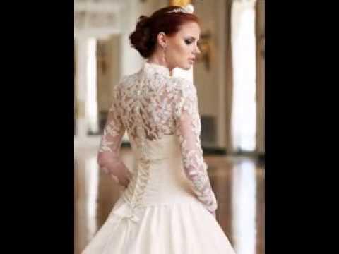 Long sleeve lace wedding dress - YouTube