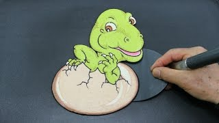 Making Baby T-Rex Dinosaur Hatching Egg PANCAKE!