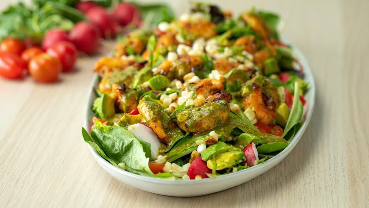Honey Lime Grilled Shrimp Salad •Tasty
