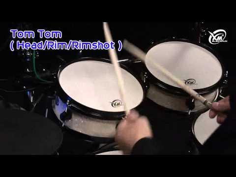 【xm-edrum】demonstrating-snare-drum,-tom-tom-and-bass-drum-functionality