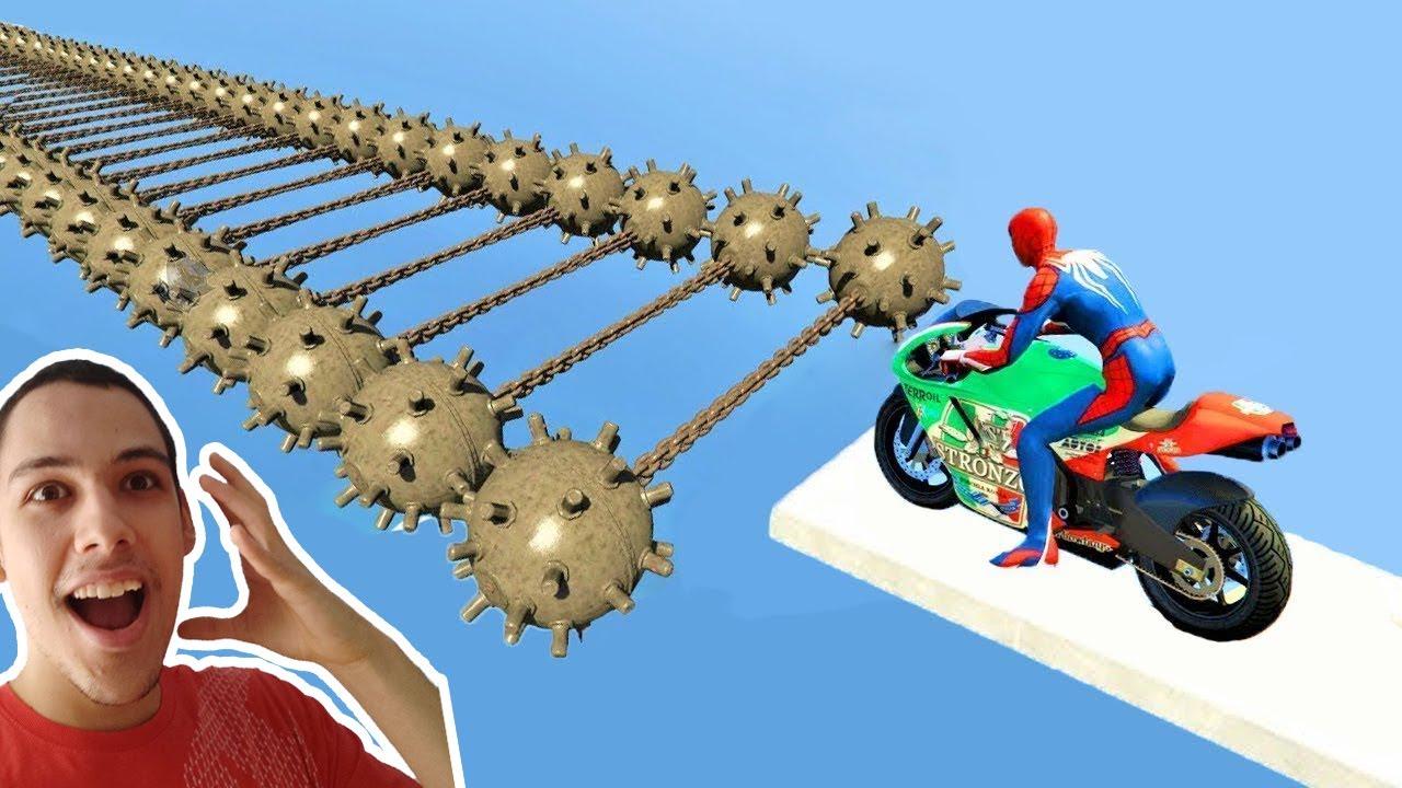 Download SPIDERMAN and Motorcycles on Bomb Mines Obstacle Superheroes Challenge - GTA 5