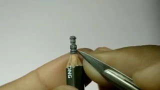 pencil carving art,INDIAN national emblem miniature sculpture on pencil lead