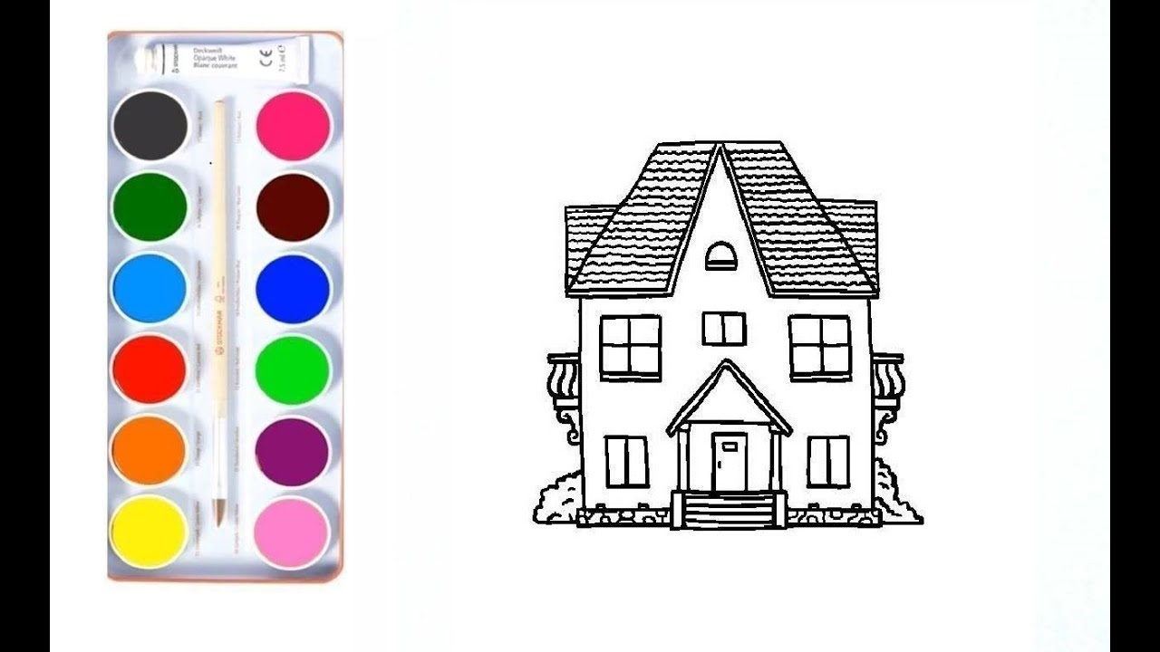 How to draw a big house for kids coloring pages video for children ☆ art drawing