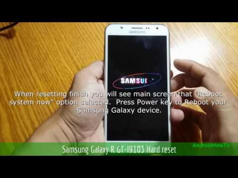 Samsung Galaxy R GT-I9103 Hard reset - YouTube