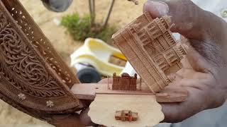 Sandal Wood Carving Artist Showing His Masterpieces