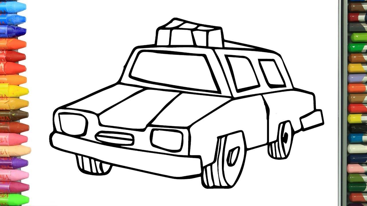 Wie Zeichnet Man Polizeiauto Zeichnen Und Ausmalen Für Kinder