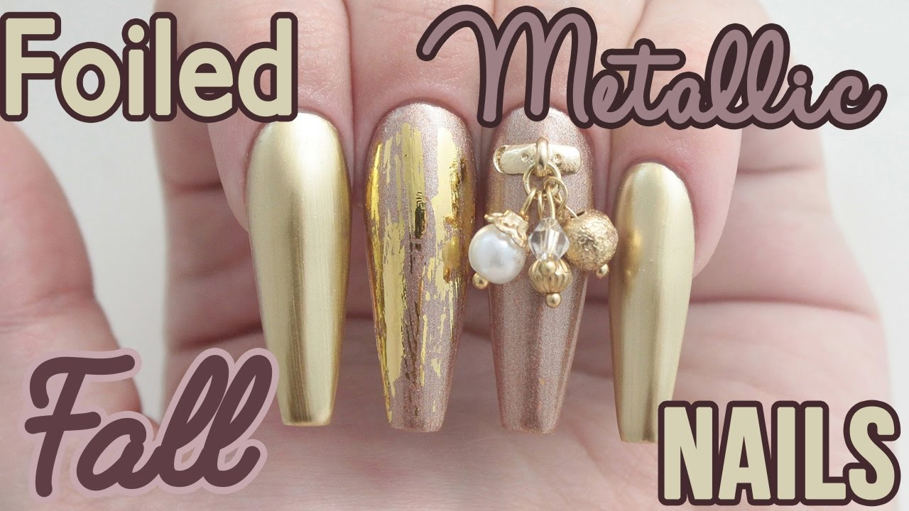 ♡ How To: Foiled Metallic Fall Coffin Acrylic Nails ♡ - YouTube