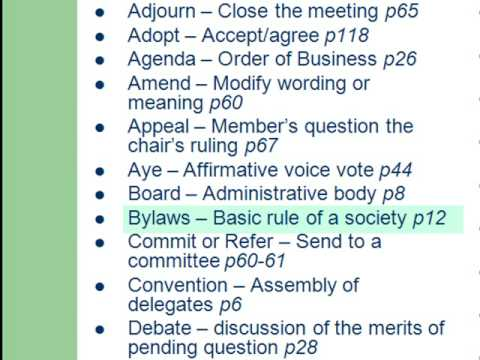 Roberts Rules of Order: Crash Course 2009: Parliamentary Terms I: 3